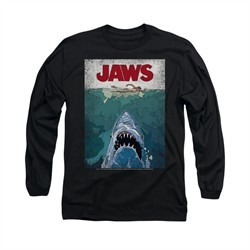 Jaws Shirt Lined Poster Long Sleeve Black Tee T-Shirt