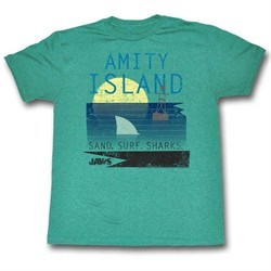 Jaws Shirt Sand Surf & Sharks Heather Jade T-Shirt