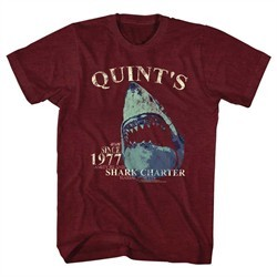 Jaws Shirt Shark Charter Maroon T-Shirt