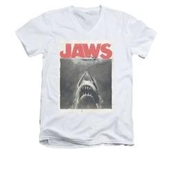 Jaws Shirt Slim Fit V-Neck Block Classic Fear White T-Shirt