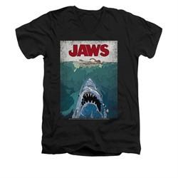 Jaws Shirt Slim Fit V-Neck Lined Poster Black T-Shirt