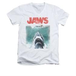 Jaws Shirt Slim Fit V-Neck Vintage Poster White T-Shirt