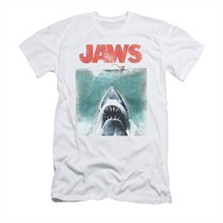 Jaws Shirt Slim Fit Vintage Poster White T-Shirt