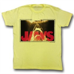 Jaws Shirt Swim Lines Adult Yellow Tee T-Shirt