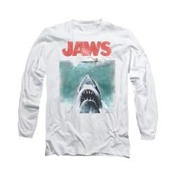 Jaws Shirt Vintage Poster Long Sleeve White Tee T-Shirt