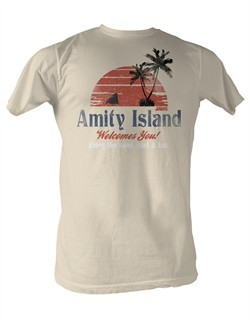 Jaws T-shirt Amity Island Adult Dirty White Tee Shirt