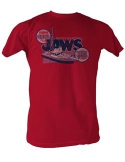 Jaws T-shirt Orca 75 Bigger Boat Classic Adult Red Tee Shirt