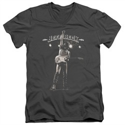 Jeff Beck Slim Fit V-Neck Shirt Guitar God Charcoal T-Shirt