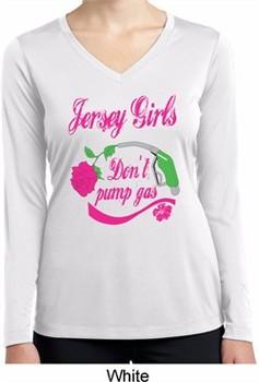 Jersey Girls Don't Pump Gas Ladies Dry Wicking Long Sleeve Shirt