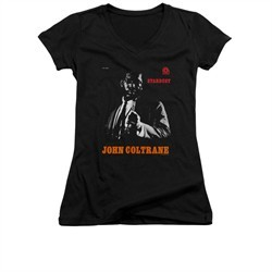 John Coltrane Shirt Juniors V Neck Star Dust Black T-Shirt