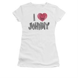 Johnny Bravo Shirt Juniors I Heart Johnny White Tee T-Shirt