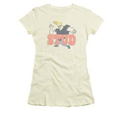 Johnny Bravo Shirt Juniors Stud Cream Tee T-Shirt