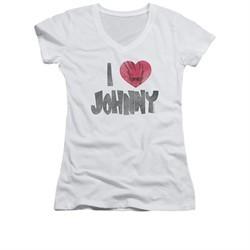 Johnny Bravo Shirt Juniors V Neck I Heart Johnny White Tee T-Shirt