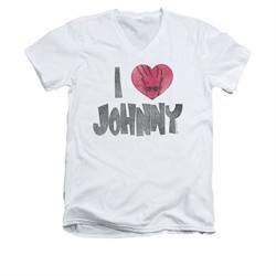 Johnny Bravo Shirt Slim Fit V Neck I Heart Johnny White Tee T-Shirt