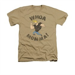 Johnny Bravo Shirt Whoa Momma Adult Heather Sand Tee T-Shirt