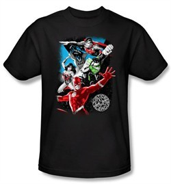 Justice League Superheroes T-shirt ? Galactic Attack Adult Black Tee
