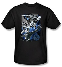 Justice League T-shirt Galactic Attack Nebula Black Tee