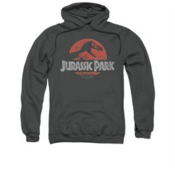 Jurassic Park Hoodie Sweatshirt Faded Logo Charcoal Adult Hoody Sweat Shirt