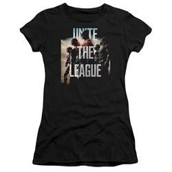 Justice League Movie Juniors Shirt Dawn Unite the League Black T-Shirt
