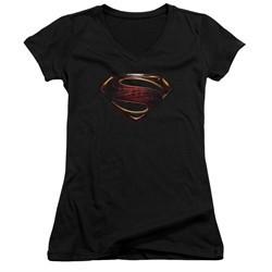 Justice League Movie Juniors V Neck Shirt Superman Logo Black T-Shirt