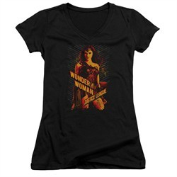 Justice League Movie Juniors V Neck Shirt Wonder Woman Black T-Shirt