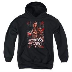 Justice League Movie Kids Hoodie Cyborg Profile Black Youth Hoody
