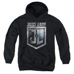 Justice League Movie Kids Hoodie Shield Logo Black Youth Hoody