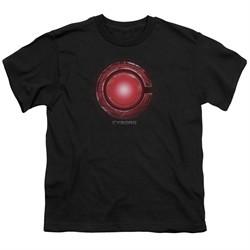 Justice League Movie Kids Shirt Cyborg Logo Black T-Shirt
