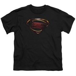 Justice League Movie Kids Shirt Superman Logo Black T-Shirt