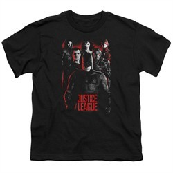 Justice League Movie Kids Shirt The League Red Glow Black T-Shirt