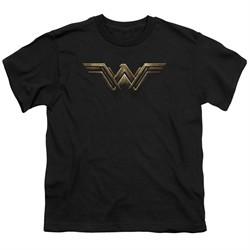 Justice League Movie Kids Shirt Wonder Woman Logo Black T-Shirt