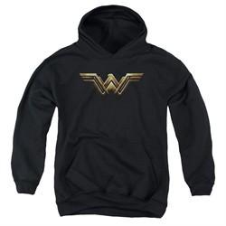 Justice League Movie Kids Wonder Woman Logo Black Youth Hoodie