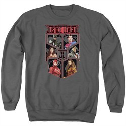 Justice League Movie League of Six Adult Charcoal Sweatshirt