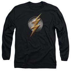 Justice League Movie Long Sleeve Flash Logo Black Tee T-Shirt