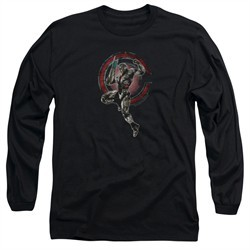 Justice League Movie Long Sleeve Shirt Cyborg Black Tee T-Shirt