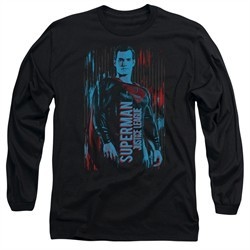 Justice League Movie Long Sleeve Shirt Superman Black Tee T-Shirt