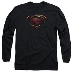 Justice League Movie Long Sleeve Shirt Superman Logo Black Tee T-Shirt
