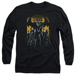 Justice League Movie Long Sleeve Stand Up To Evil Black Tee T-Shirt