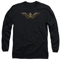Justice League Movie Long Sleeve Wonder Woman Logo Black T-Shirt