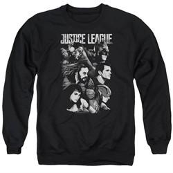 Justice League Movie Pushing Forward Adult Black Sweatshirt