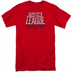 Justice League Movie Shirt Distressed Logo Red Tall T-Shirt