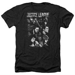 Justice League Movie Shirt Pushing Forward Heather Black T-Shirt