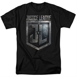 Justice League Movie Shirt Shield Logo Black T-Shirt