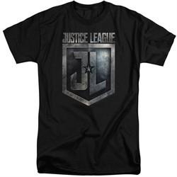Justice League Movie Shirt Shield Logo Black Tall T-Shirt