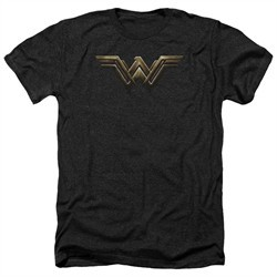 Justice League Movie Shirt Wonder Woman Logo Heather Black T-Shirt