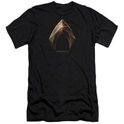 Justice League Movie Slim Fit Shirt Aquaman Logo Black T-Shirt