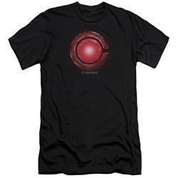 Justice League Movie Slim Fit Shirt Cyborg Logo Black T-Shirt