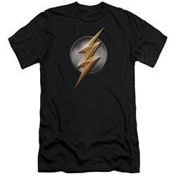 Justice League Movie Slim Fit Shirt Flash Logo Black T-Shirt