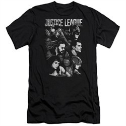 Justice League Movie Slim Fit Shirt Pushing Forward Black T-Shirt