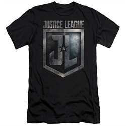 Justice League Movie Slim Fit Shirt Shield Logo Black T-Shirt